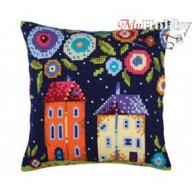 Cross Stitch Cushion Kit Bloomy street, Article: 5 347 Collection D'Art - size 40x40 cm.