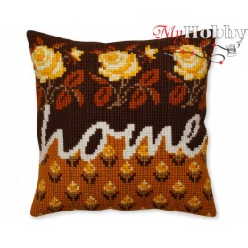 Cross Stitch Cushion Kit Home, Article: 5 333 Collection D'Art - size 40x40 cm.