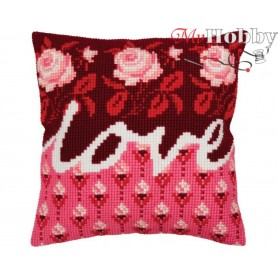 Cross Stitch Cushion Kit Love, Article: 5 332 Collection D'Art - size 40x40 cm.