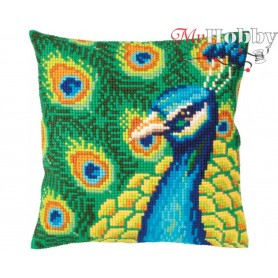 Cross Stitch Cushion Kit Proud peacock, Article: 5 327 Collection D'Art - size 40x40 cm.