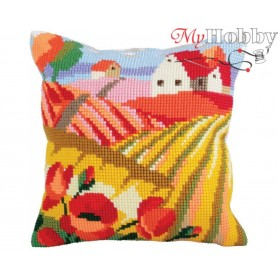 Cross Stitch Cushion Kit Poppy field, Article: 5 321 Collection D'Art - size 40x40 cm.