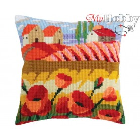 Cross Stitch Cushion Kit Poppy field, Article: 5 320 Collection D'Art - size 40x40 cm.