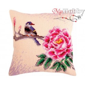 Cross Stitch Cushion Kit Flower and bird, Article: 5 319 Collection D'Art - size 40x40 cm.