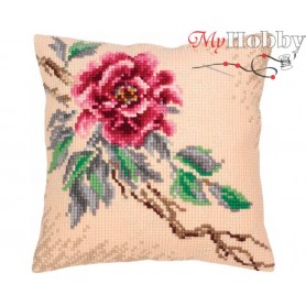 Cross Stitch Cushion Kit Tender peony, Article: 5 318 Collection D'Art - size 40x40 cm.