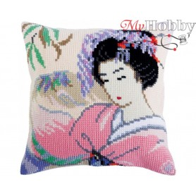 Cross Stitch Cushion Kit Japanese love, Article: 5 317 Collection D'Art - size 40x40 cm.