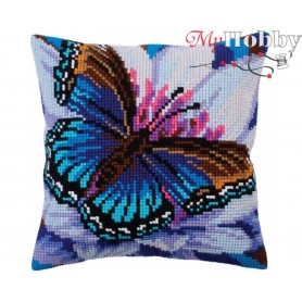 Cross Stitch Cushion Kit Volatic turquoise, Article: 5 313 Collection D'Art - size 40x40 cm.