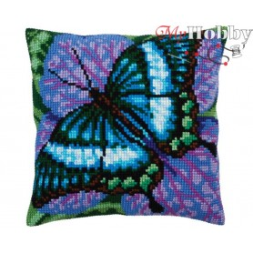 Cross Stitch Cushion Kit Volatic turquoise, Article: 5 312 Collection D'Art - size 40x40 cm.