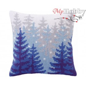 Cross Stitch Cushion Kit Winter forest, Article: 5 304 Collection D'Art - size 40x40 cm.