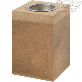 Tea Light Candle Holder, size 7x7 cm, H: 10 cm, MDF, 1pc