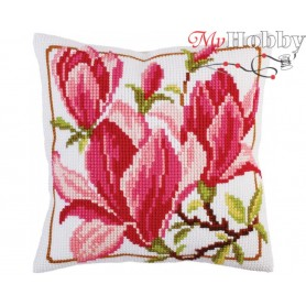 Cross Stitch Cushion Kit Magnolia flowers, Article: 5 292 Collection D'Art - size 40x40 cm.
