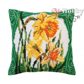 Cross Stitch Cushion Kit Narcissus, Article: 5 287 Collection D'Art - size 40x40 cm.