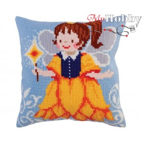 Cross Stitch Cushion Kit Fairy-Yellow Bell, Article: 5 283 Collection D'Art - size 40x40 cm.