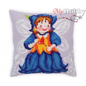 Cross Stitch Cushion Kit Fairy-Blue Bell, Article: 5 282 Collection D'Art - size 40x40 cm.