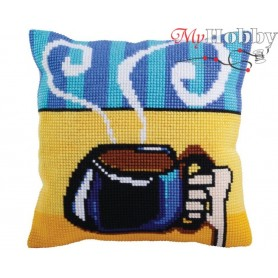 Cross Stitch Cushion Kit Cup of coffee, Article: 5 280 Collection D'Art - size 40x40 cm.
