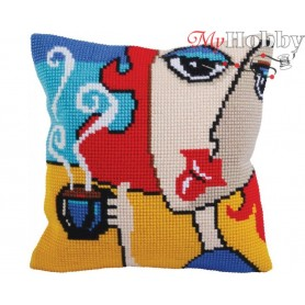 Cross Stitch Cushion Kit Fragrant coffee, Article: 5 279 Collection D'Art - size 40x40 cm.