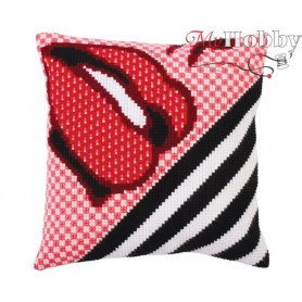 Cross Stitch Cushion Kit Red lipstick, Article: 5 277 Collection D'Art - size 40x40 cm.
