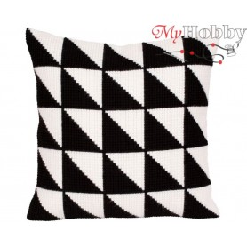 Cross Stitch Cushion Kit Black-and-white, Article: 5 275 Collection D'Art - size 40x40 cm.
