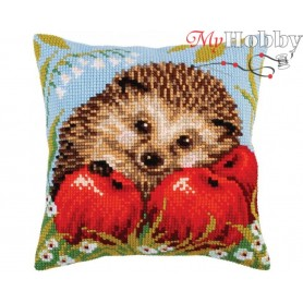 Cross Stitch Cushion Kit Hedgehog with apples, Article: 5 271 Collection D'Art - size 40x40 cm.