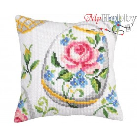 Cross Stitch Cushion Kit Easter feast, Article: 5 267 Collection D'Art - size 40x40 cm.