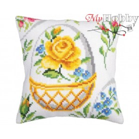 Cross Stitch Cushion Kit Easter feast, Article: 5 266 Collection D'Art - size 40x40 cm.