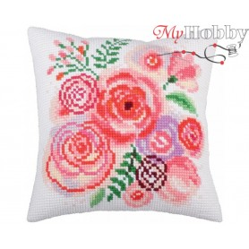Cross Stitch Cushion Kit Spring bunch, Article: 5 264 Collection D'Art - size 40x40 cm.