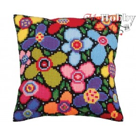 Cross Stitch Cushion Kit Flower glade, Article: 5 259 Collection D'Art - size