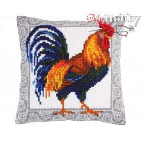 Cross Stitch Cushion Kit Gallic rooster, Article: 5 252 Collection D'Art - size 40x40 cm.