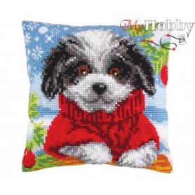 Cross Stitch Cushion Kit Woolly winter, Article: 5 249 Collection D'Art - size 40x40 cm.