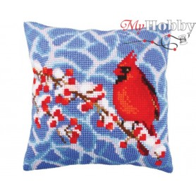 Cross Stitch Cushion Kit Winter red berries, Article: 5 248 Collection D'Art - size 40x40 cm.