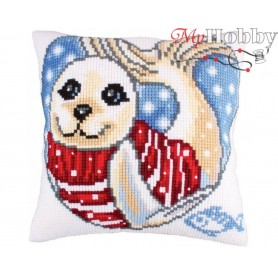 Cross Stitch Cushion Kit Seal cub, Article: 5 246 Collection D'Art - size 40x40 cm.