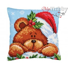 Cross Stitch Cushion Kit Christmas with a teddy bear, Article: 5 240 Collection D'Art - size 40x40 cm.
