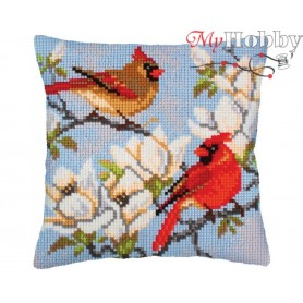 Cross Stitch Cushion Kit On a branch of magnolia, Article: 5 239 Collection D'Art - size 40x40 cm.