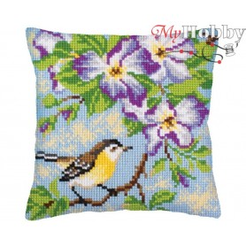 Cross Stitch Cushion Kit Little titmouse on a branch, Article: 5 237 Collection D'Art - size 40x40 cm.