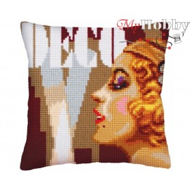 Cross Stitch Cushion Kit Art Deco 2, Article: 5 236 Collection D'Art - size 40x40 cm.