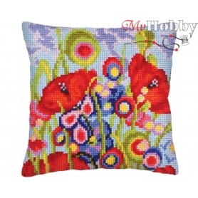 Cross Stitch Cushion Kit Red poppies, Article: 5 234 Collection D'Art - size 40x40 cm.
