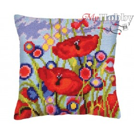 Cross Stitch Cushion Kit Red poppies, Article: 5 233 Collection D'Art - size 40x40 cm.