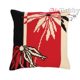 Cross Stitch Cushion Kit Red and Black, Article: 5 228 Collection D'Art - size 40x40 cm.