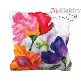 Cross Stitch Cushion Kit Stylish flowers, Article: 5 227 Collection D'Art - size 40x40 cm.