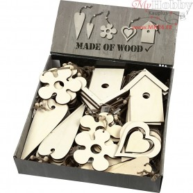 Wooden Ornament, size 6,5-21,5 cm, thickness 5 mm, 100pcs