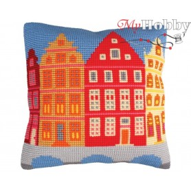 Cross Stitch Cushion Kit Houses, Article: 5 224 Collection D'Art - size 40x40 cm.