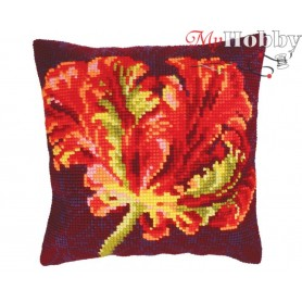 Cross Stitch Cushion Kit Red tulip, Article: 5 218 Collection D'Art - size 40x40 cm.