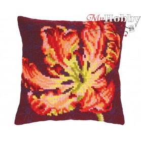 Cross Stitch Cushion Kit Red tulip, Article: 5 217 Collection D'Art - size 40x40 cm.