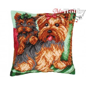 Cross Stitch Cushion Kit Dogs on the armchair, Article: 5 214 Collection D'Art - size 40x40 cm.