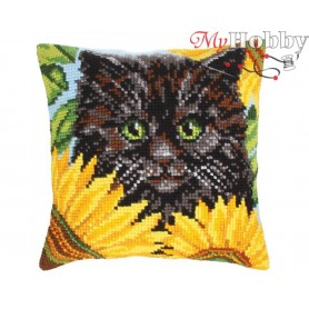 Cross Stitch Cushion Kit Black cat and sunflowers, Article: 5 212 Collection D'Art - size 40x40 cm.