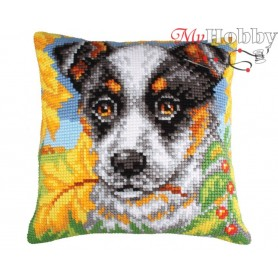 Cross Stitch Cushion Kit Dog and autumn leaves, Article: 5 211 Collection D'Art - size 40x40 cm.