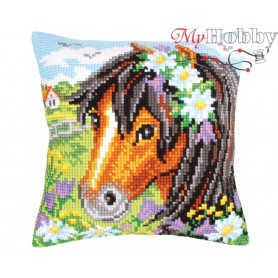 Cross Stitch Cushion Kit Daisy chain, Article: 5 208 Collection D'Art - size 40x40 cm.