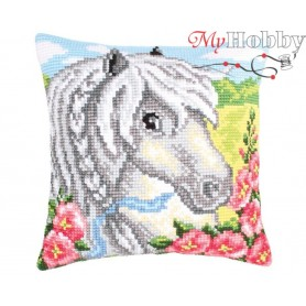 Cross Stitch Cushion Kit White horse, Article: 5 207 Collection D'Art - size 40x40 cm.