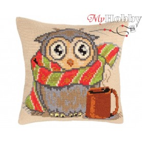 Cross Stitch Cushion Kit Staying at home, Article: 5 205 Collection D'Art - size 40x40 cm.