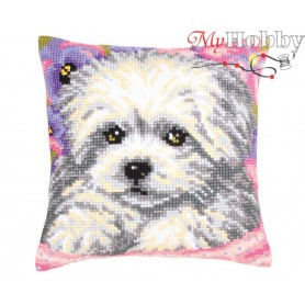 Cross Stitch Cushion Kit Little doggy, Article: 5 203 Collection D'Art - size 40x40 cm.