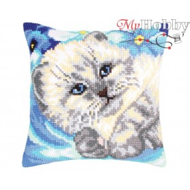Cross Stitch Cushion Kit Cute kitten, Article: 5 202 Collection D'Art - size 40x40 cm.